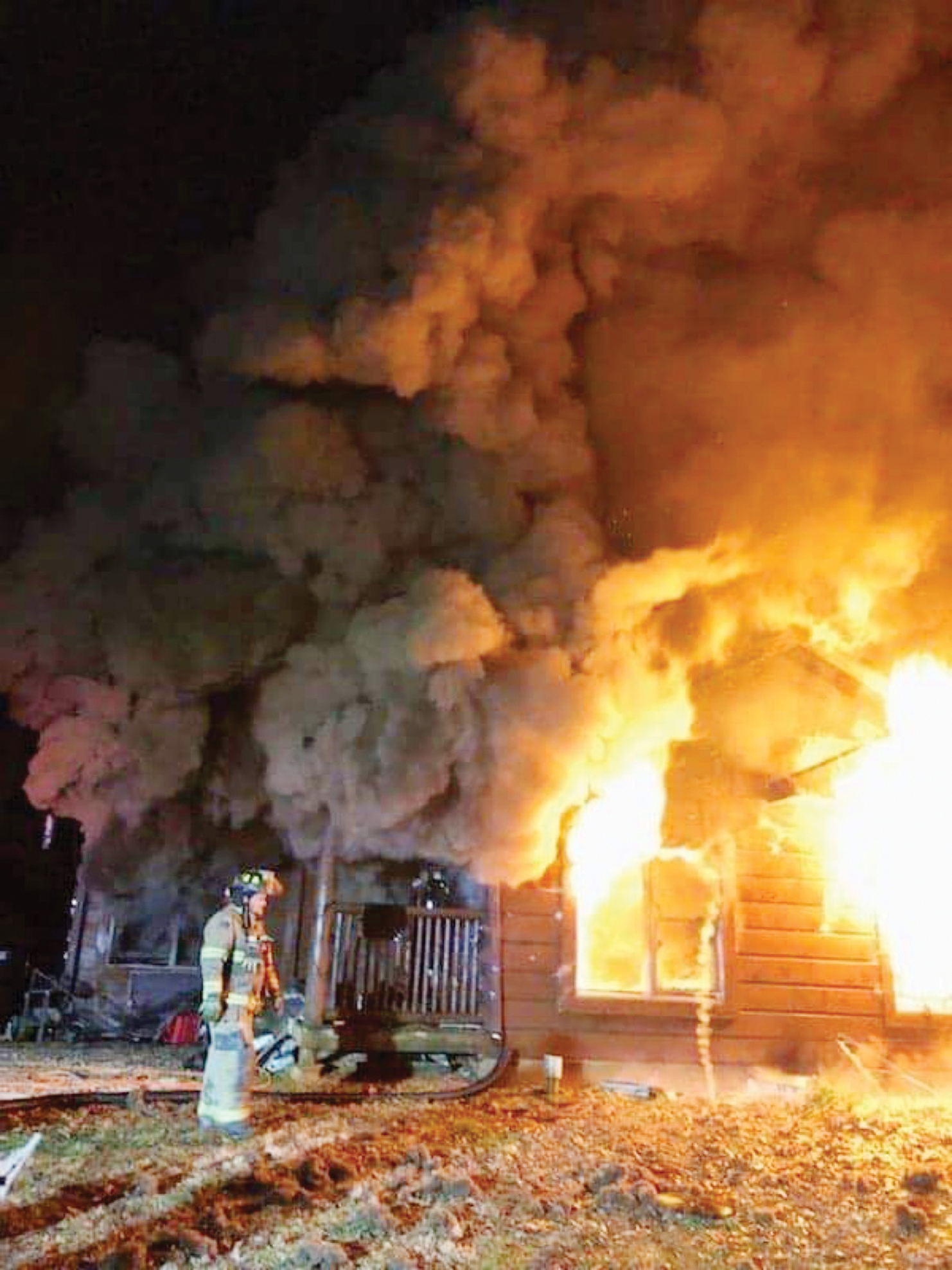 Log home destroyed by fire